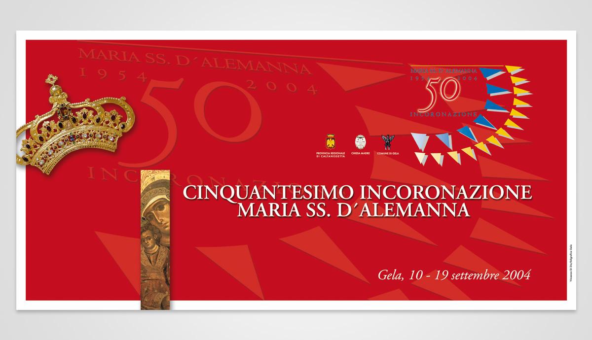 poster cinquantesimo incoronazione maria ss d'alemanna - vincenzo di dio